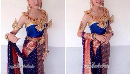 ชุดไทยประยุกต์โทนสีน้ำเงิน
